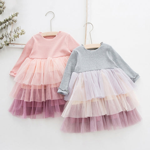 Girls Long Sleeve Dress Children Autumn Spring Kids Mesh Dresses for Girls Princess Party Baby Girl Clothes 2020