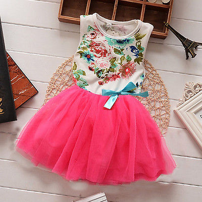 Summer 2017 Princess Girls Baby Kids Floral Lace Patchwork Tops Fancy Tutu Dress Tulle One-pieces 1-5Y