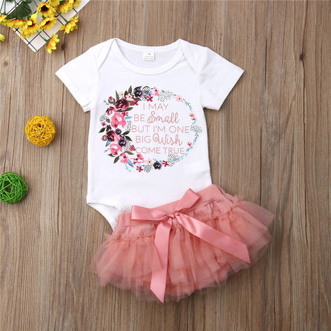 0-18M 2Pcs Clothes Set Baby Girls Short Sleeve Floral Romper Skirt Cute Set Kids Summer Tutu Tulle Bow Skirts Outfits