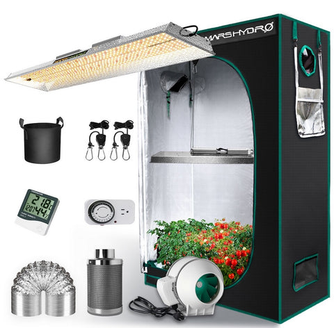 Mars Hydro TSL 2000 LED Grow Light + 2'x4' Indoor Tent Kits Combo Carbon Filter