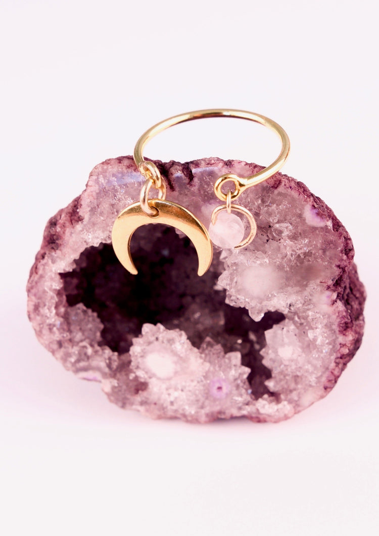 Bague Talisman Lune de Quartz Rose
