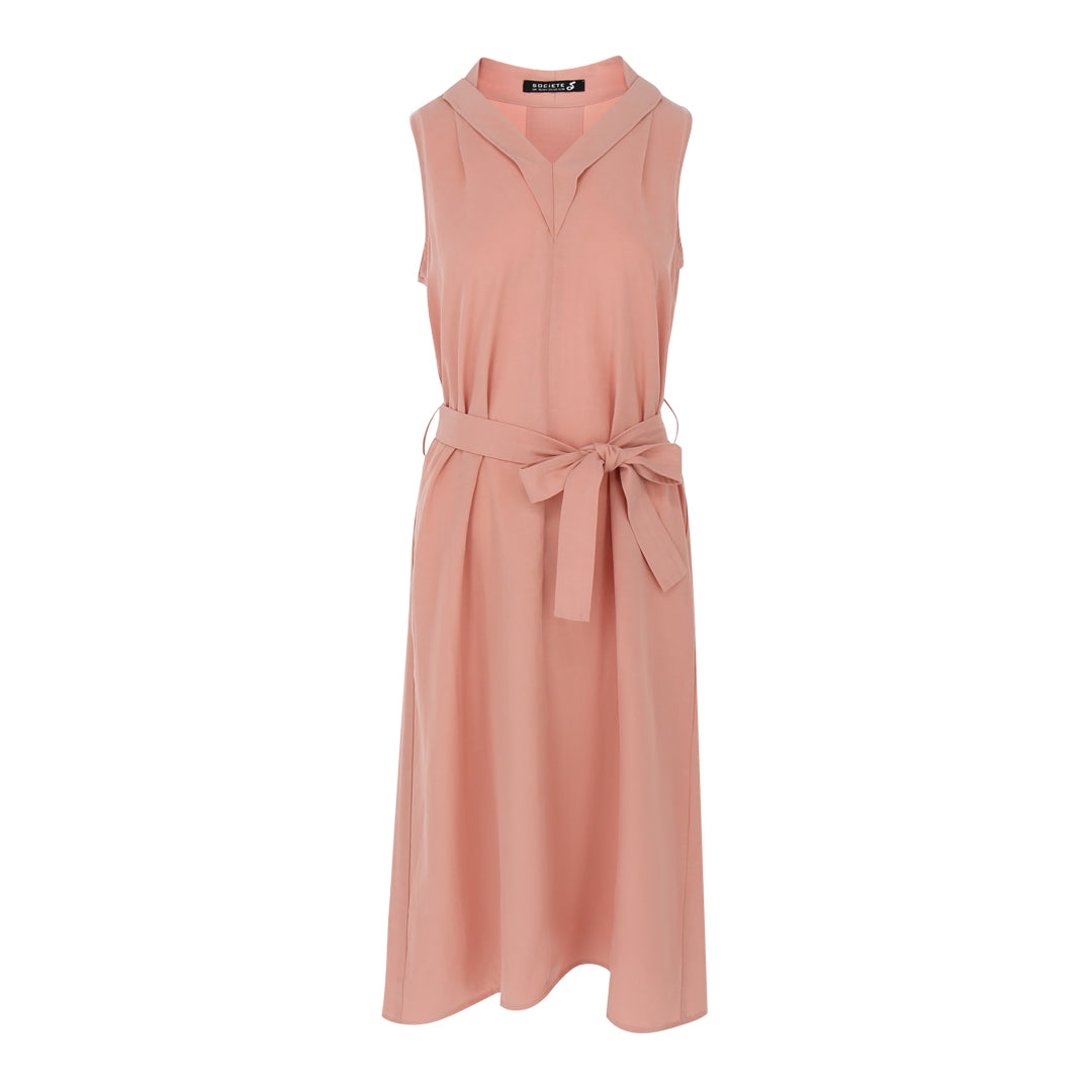 Sleeveless V Neck Dress in Salmon