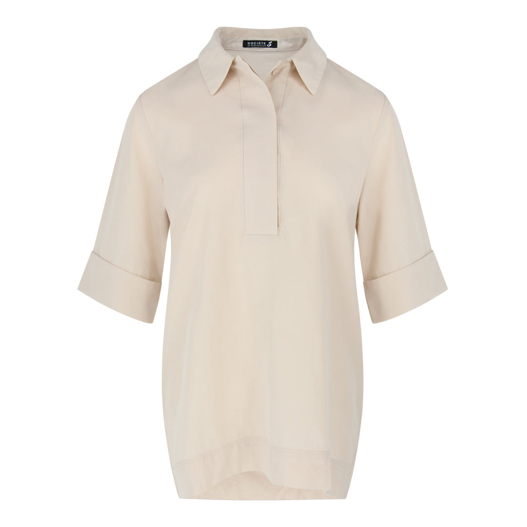 Short Sleeve Shirt Collar Top in Beige