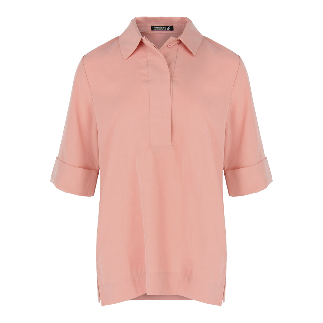 Short Sleeve Shirt Collar Top in Salmon