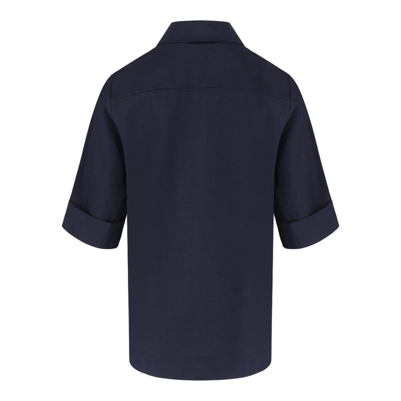 Short Sleeve Shirt Collar Top in Navy