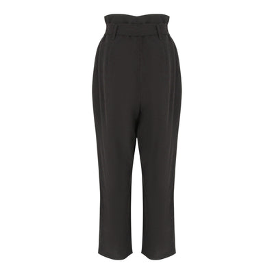 High Waist Pants With Belt in Black