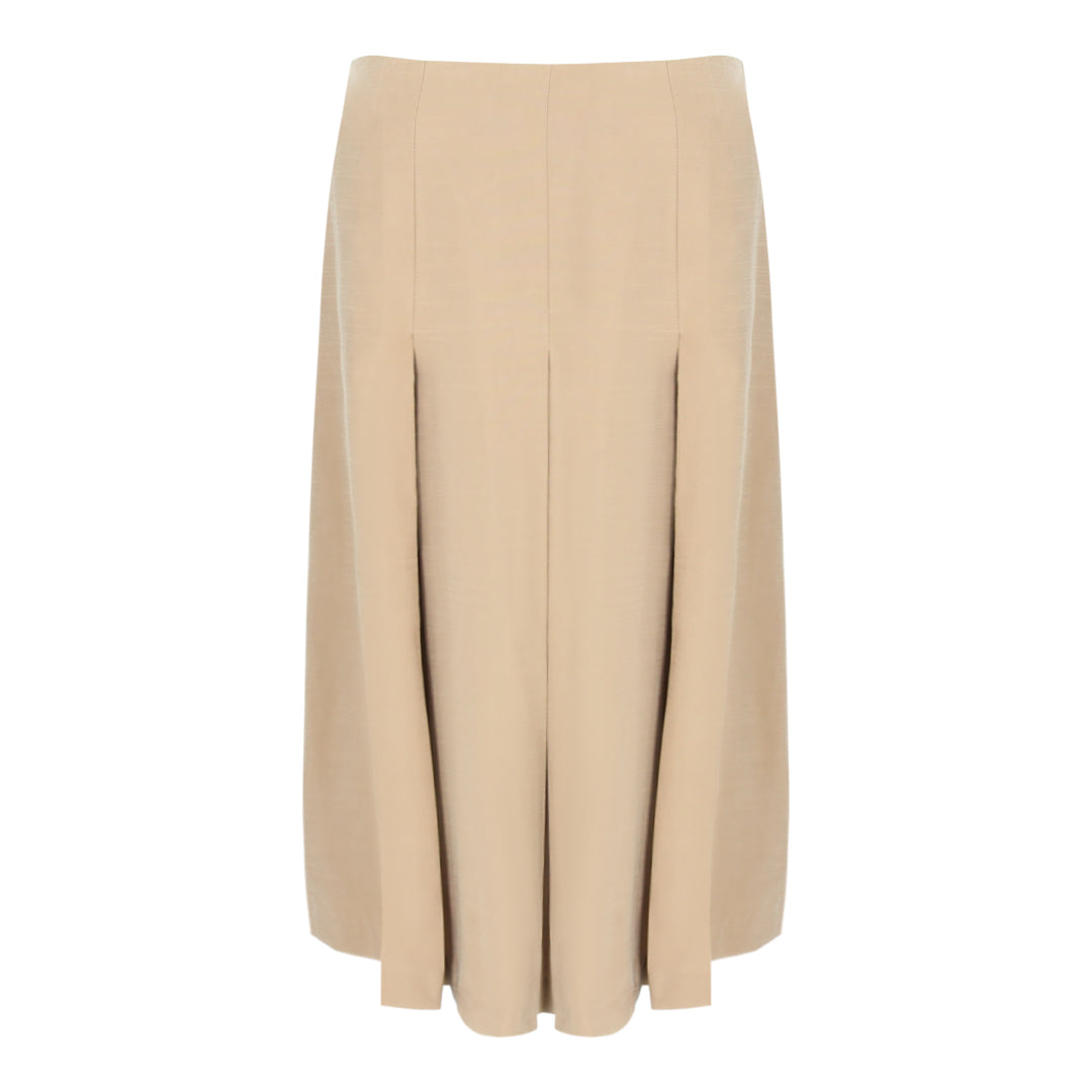 Pleated Midi Skirt in Khaki