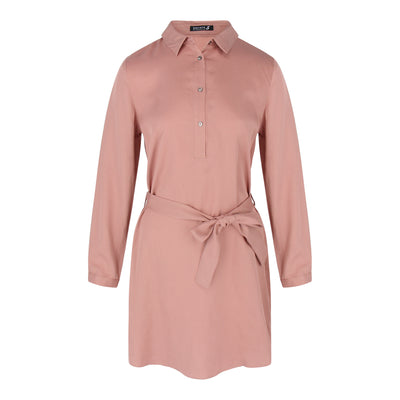 Long Sleeve Tunic With Belt in Dusty Pink
