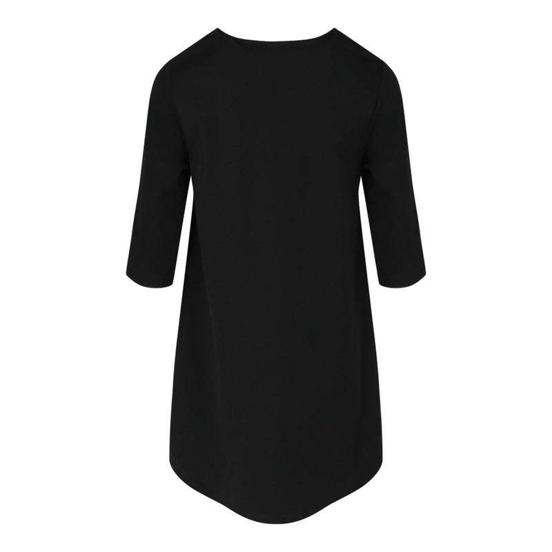 V Neck Mid Sleeve Top in Black