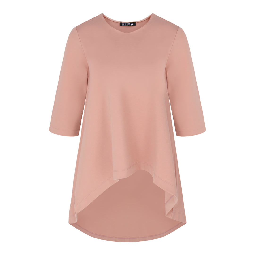 V Neck Mid Sleeve Top in Pink