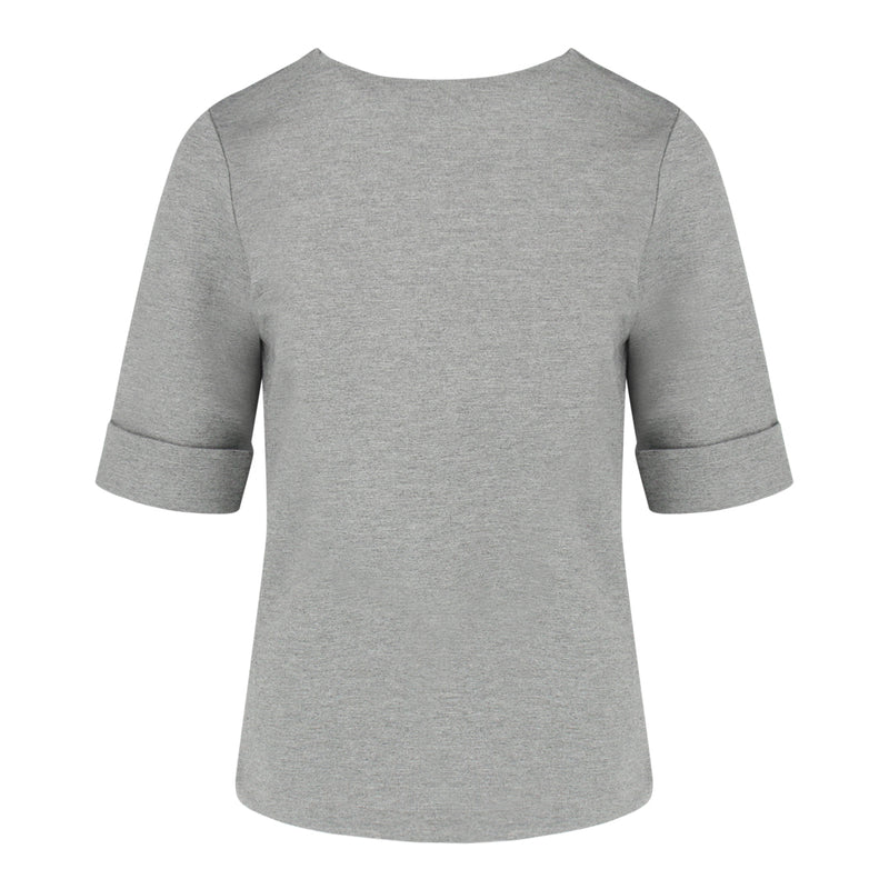 Round Neck Mid Sleeve Top in Grey