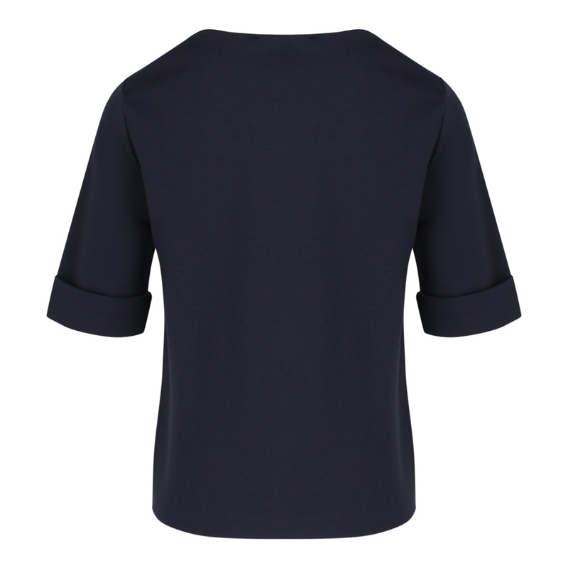 Round Neck Mid Sleeve Top in Navy