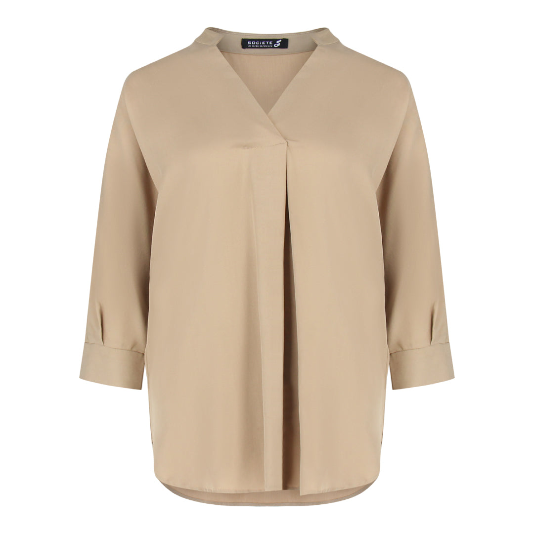 Skipper Collar 3/4 Sleeve Shirt in Khaki