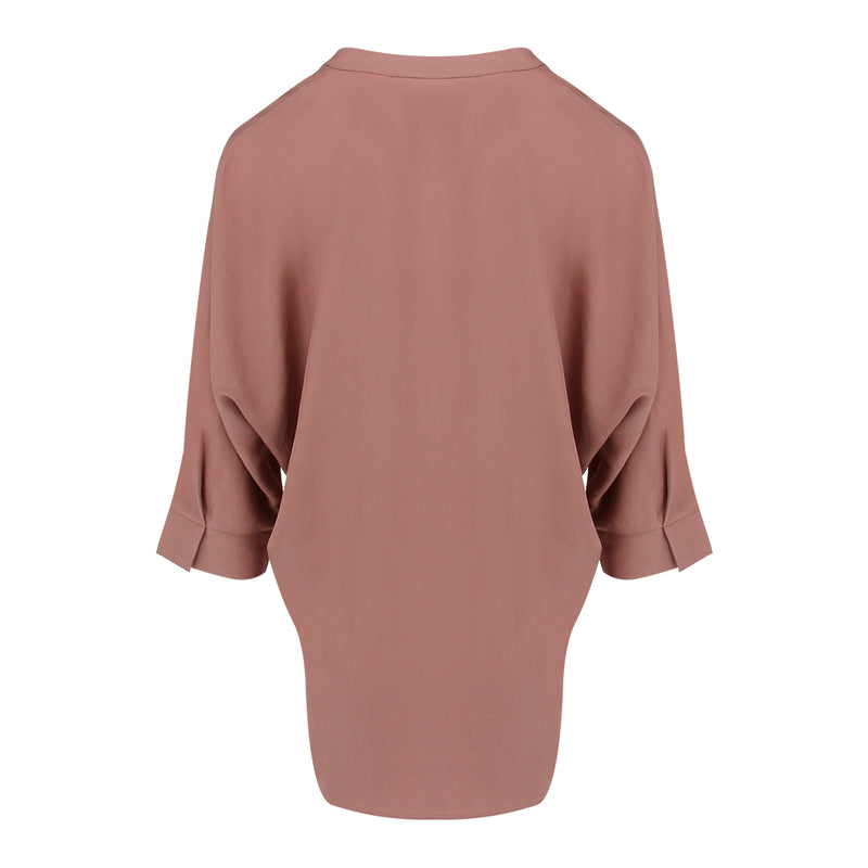 Skipper Collar 3/4 Sleeve Shirt in Dusty Pink