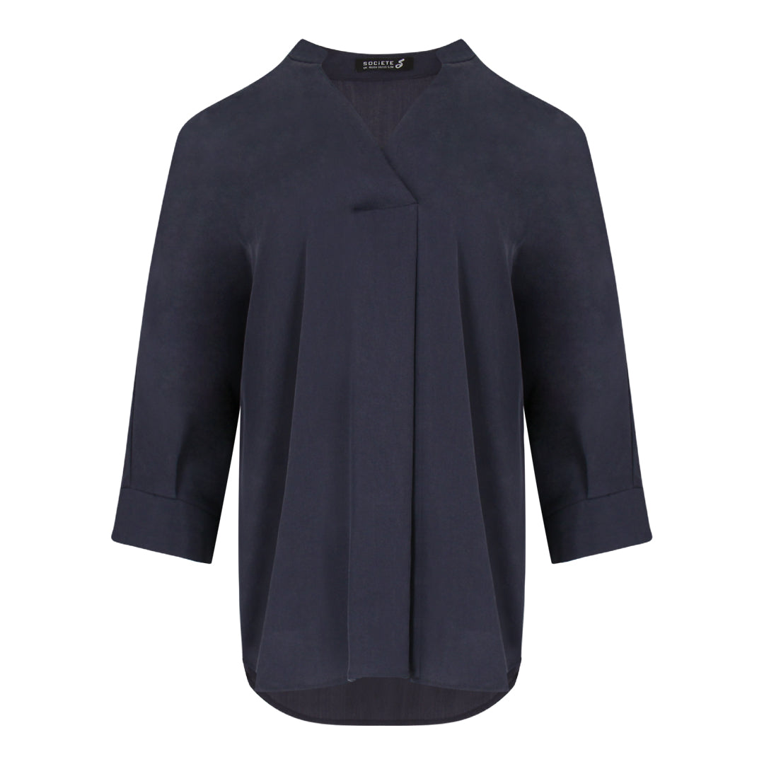 Skipper Collar 3/4 Sleeve Shirt in Navy