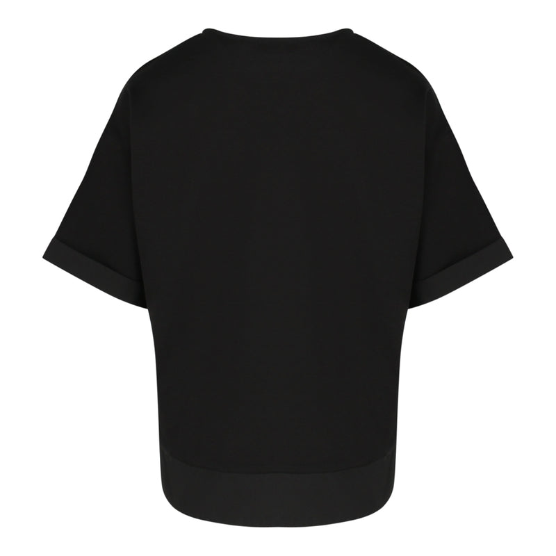 Short Sleeve Boxy Top With Patch Pocket in Black