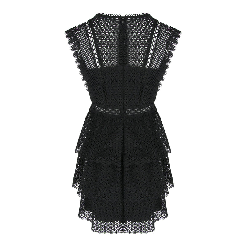 Sleeveless 2 Tiers Lace Dress in Black