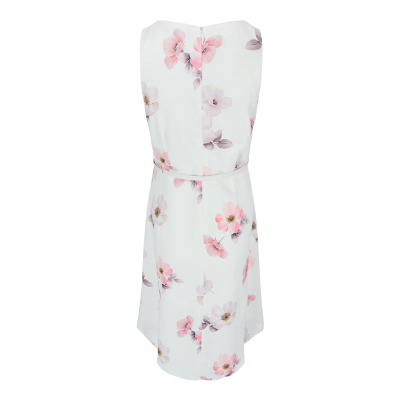 Sleeveless Dress With PU Belt in White Floral