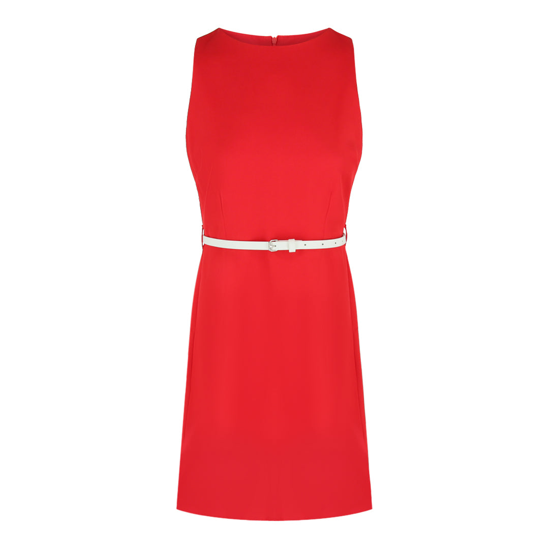 Sleeveless Dress With PU Belt in Red Solid