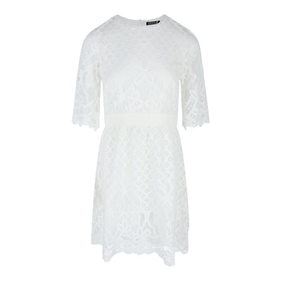 3/4 Sleeve Lace Dress in White