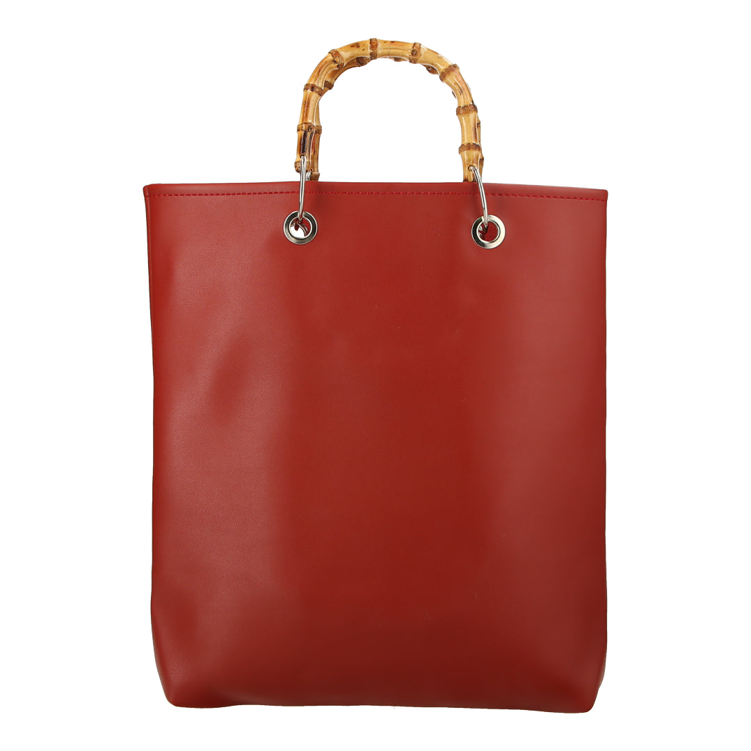 Tote Bag W Bamboo Handle (Red)