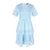 Short Sleeve V Neck Lace Dress in Light Blue