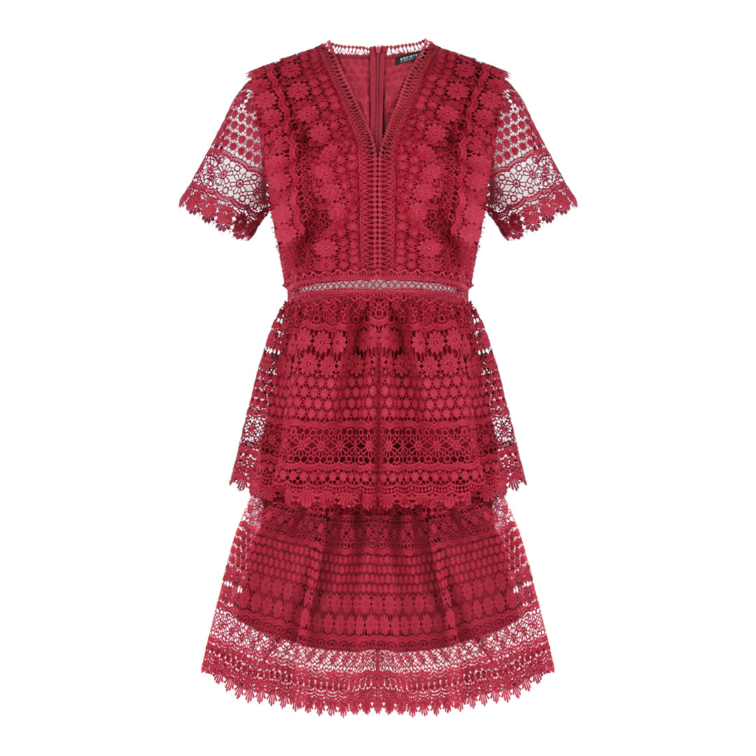 Short Sleeve V Neck Lace Dress in Burgundy
