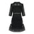 Round Neck Mid Sleeve Lace Dress in Black
