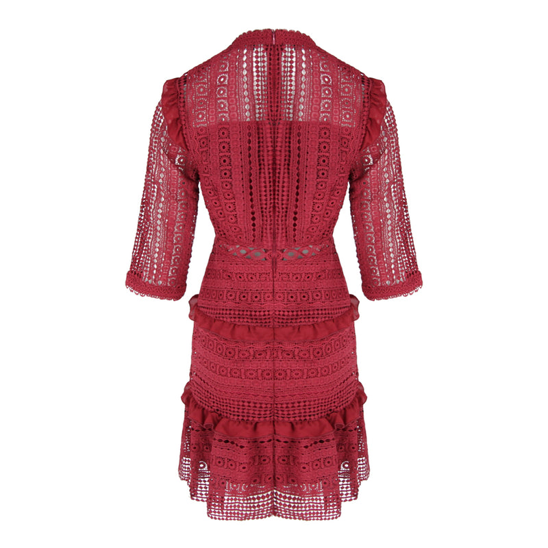 Round Neck Mid Sleeve Lace Dress in Burgundy