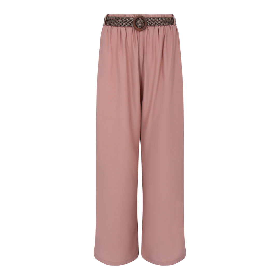 Pants With Straw Weave Belt in Dusty Pink