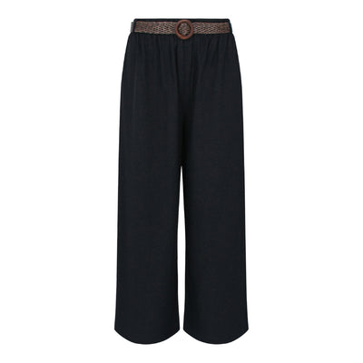 Pants With Straw Weave Belt in Black