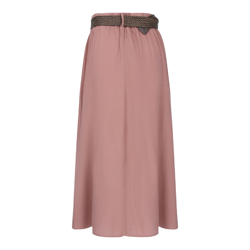 Skirt With Straw Weave Belt in Dusty Pink