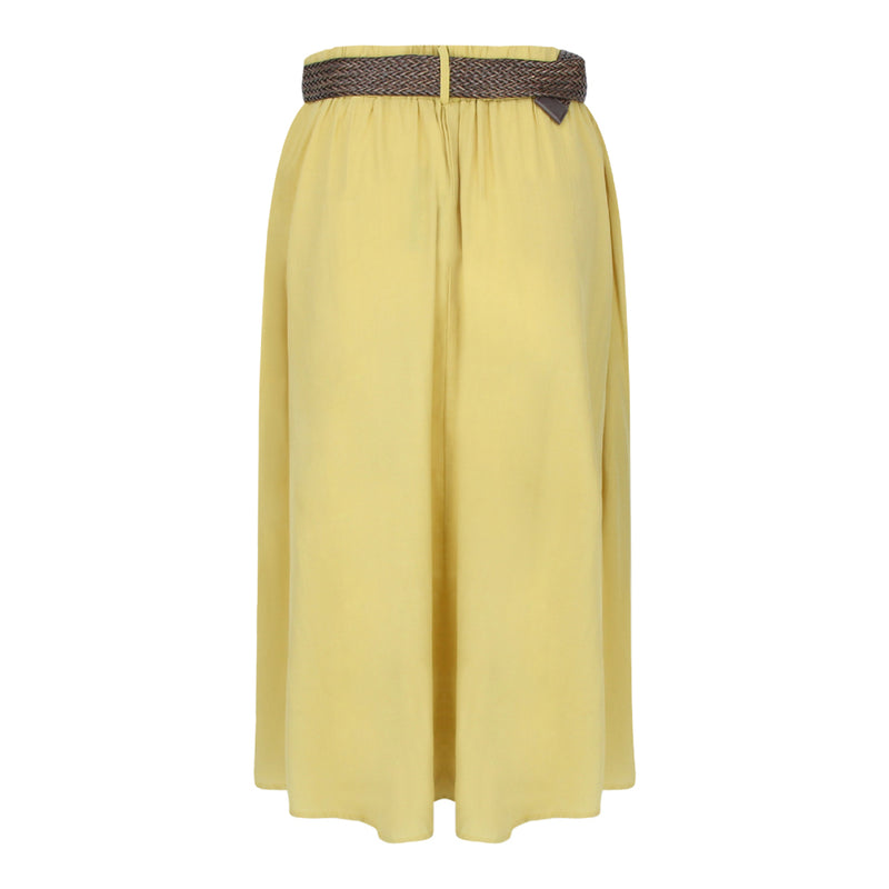 Skirt With Straw Weave Belt in Mustard