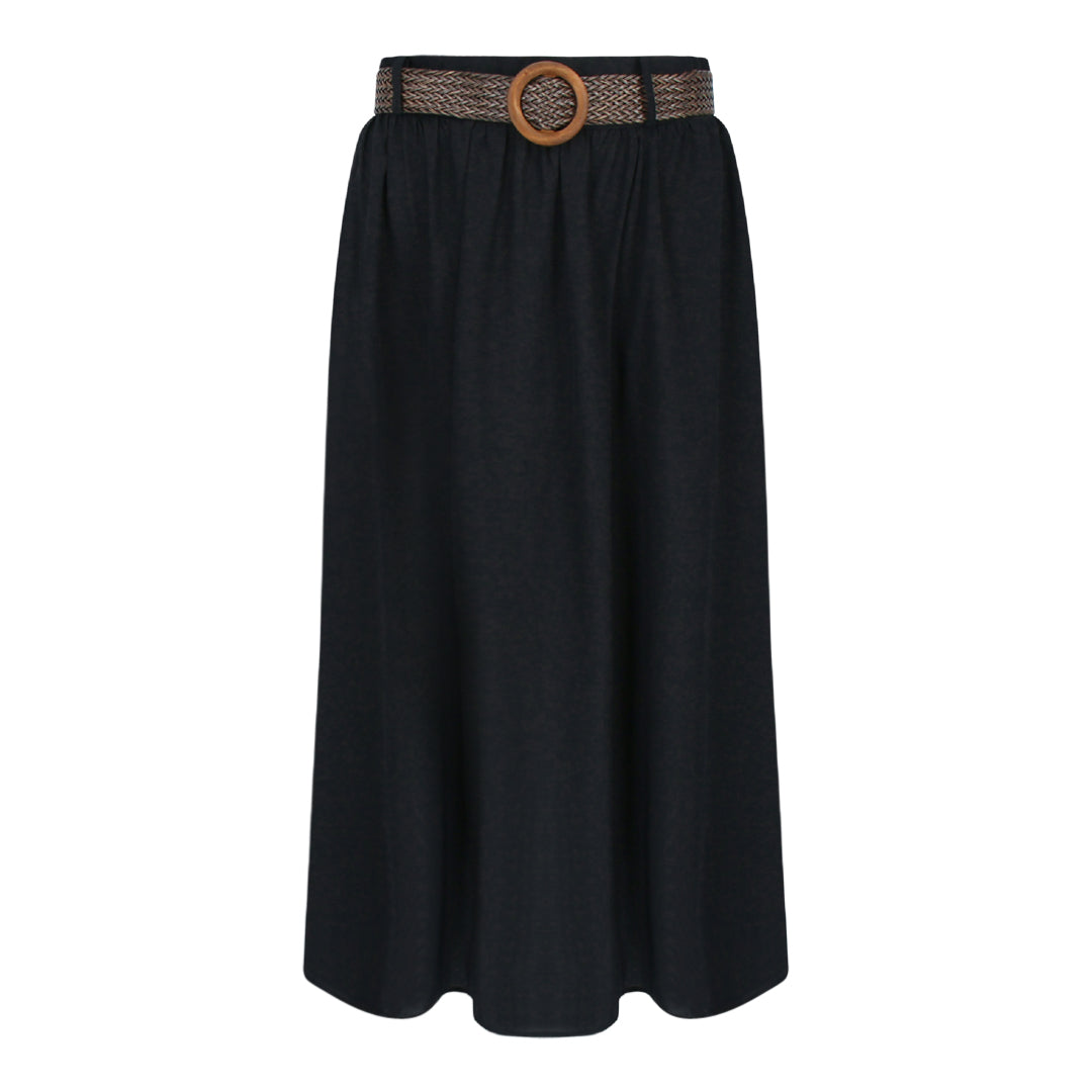 Skirt With Straw Weave Belt in Black
