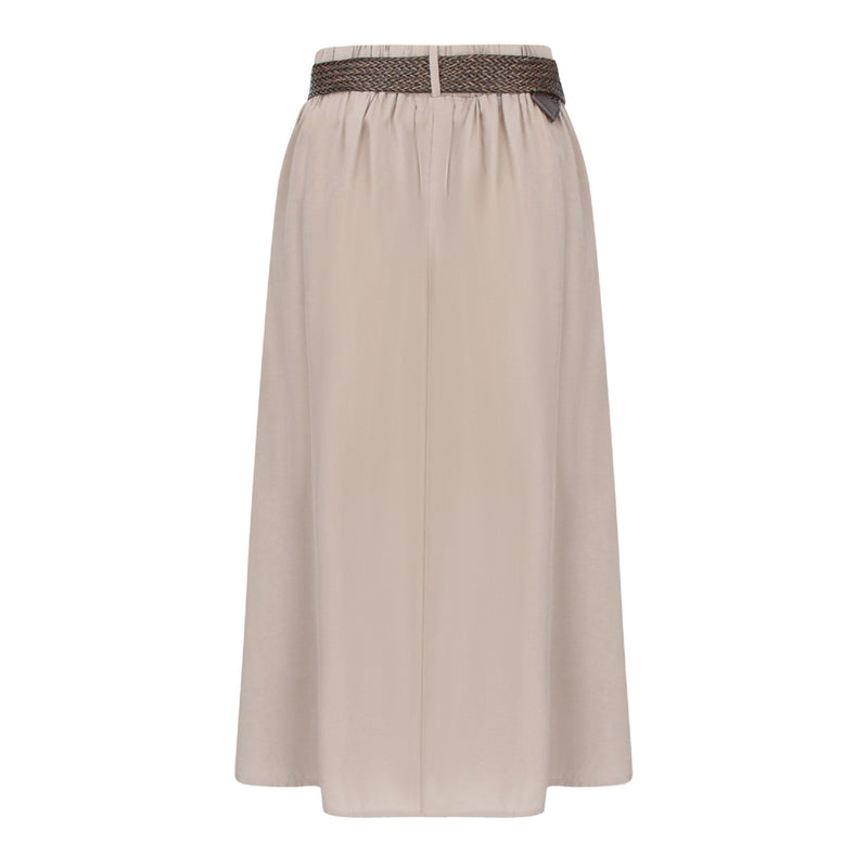 Skirt With Straw Weave Belt in Khaki