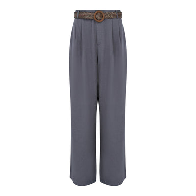 Pants With Straw Weave Belt in Charcoal