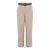 Pants With Straw Weave Belt in Beige