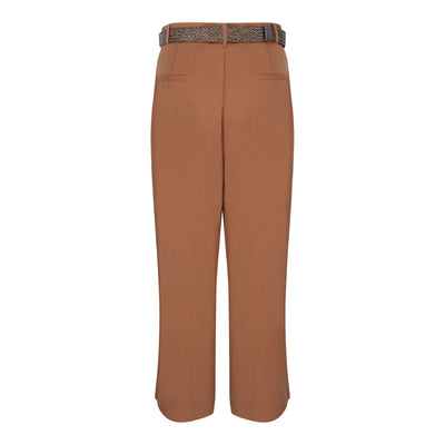 Pants With Straw Weave Belt in Brown