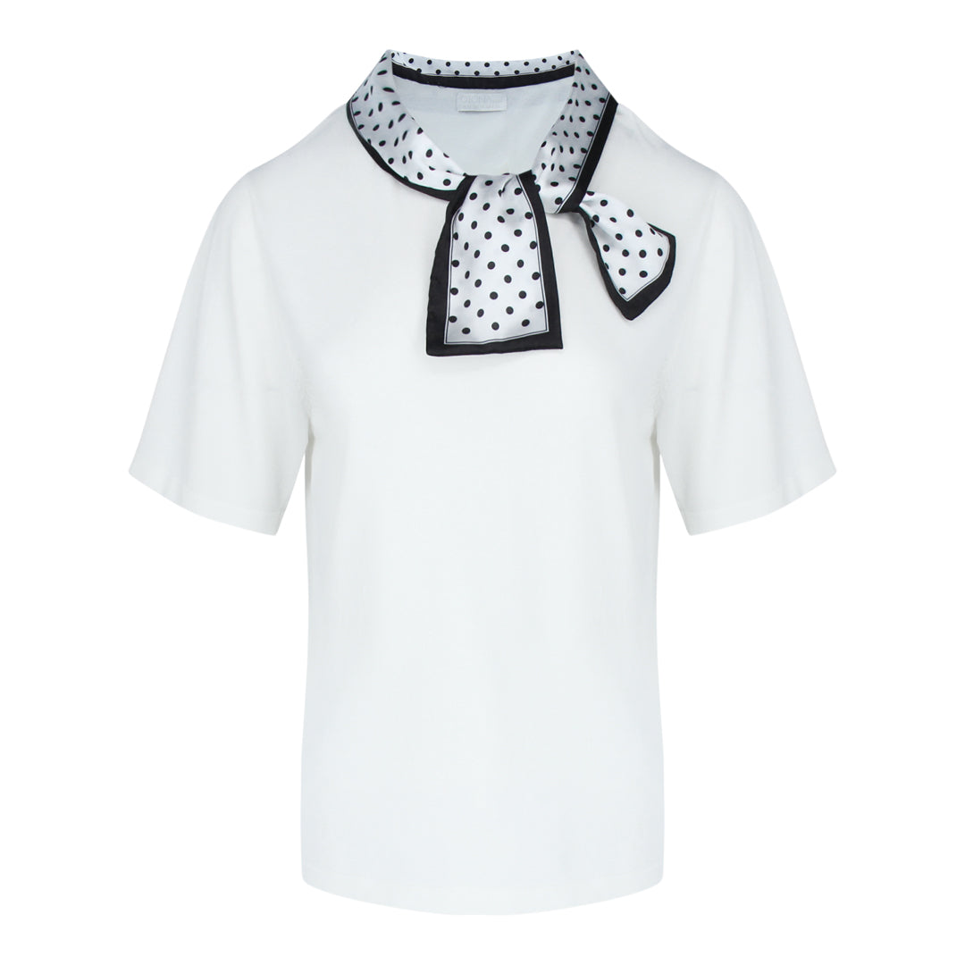 Short Sleeve Fine Knit With Scarf in Off White