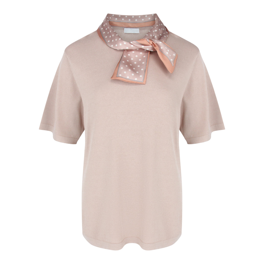 Short Sleeve Fine Knit With Scarf in Khaki