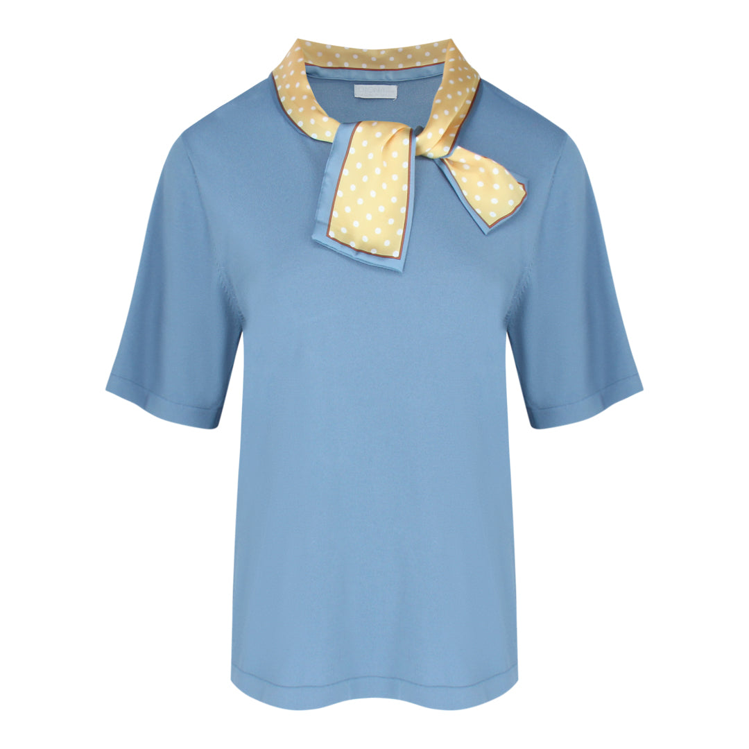 Short Sleeve Fine Knit With Scarf in Greyish Blue
