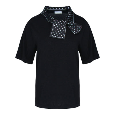 Short Sleeve Fine Knit With Scarf in Black
