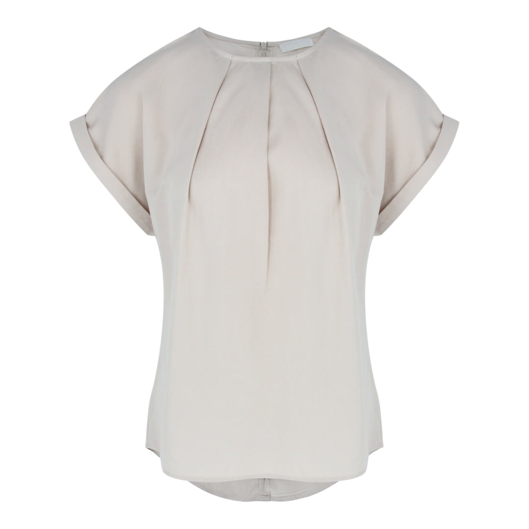 Cap Sleeve Blouse in Beige