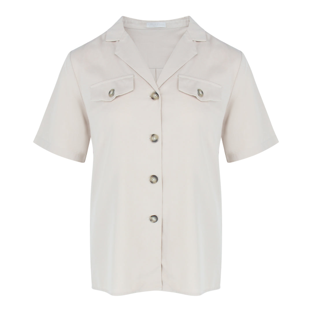 Short Sleeve Safari Shirt in Beige