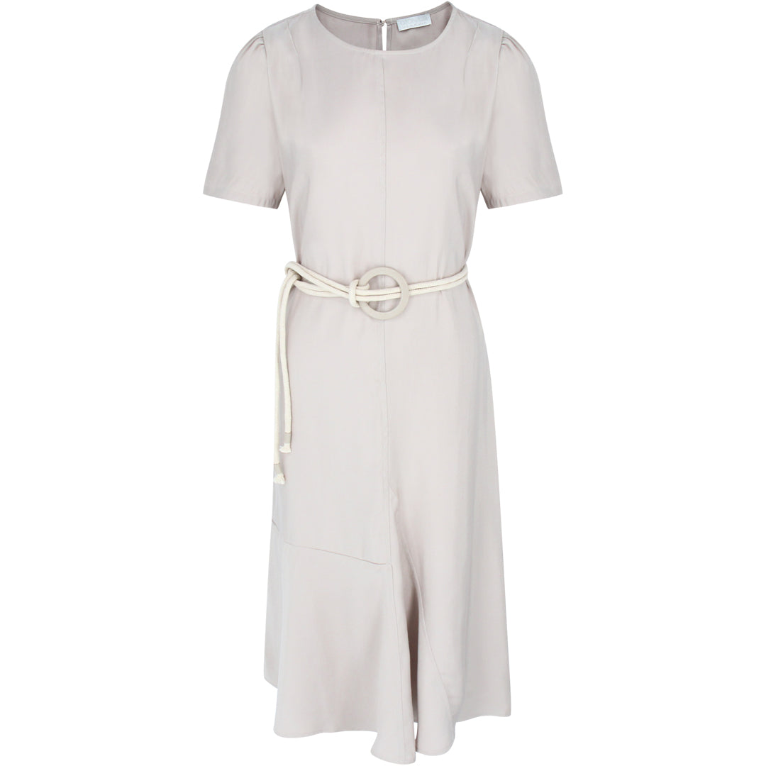 Short Sleeve Dress With Rope Belt in Beige