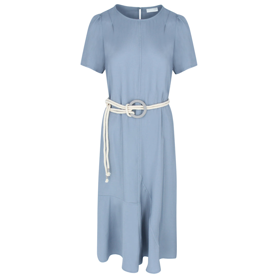 Short Sleeve Dress With Rope Belt in Water