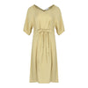 Mid Sleeve Dress With Tie Belt in Mustard
