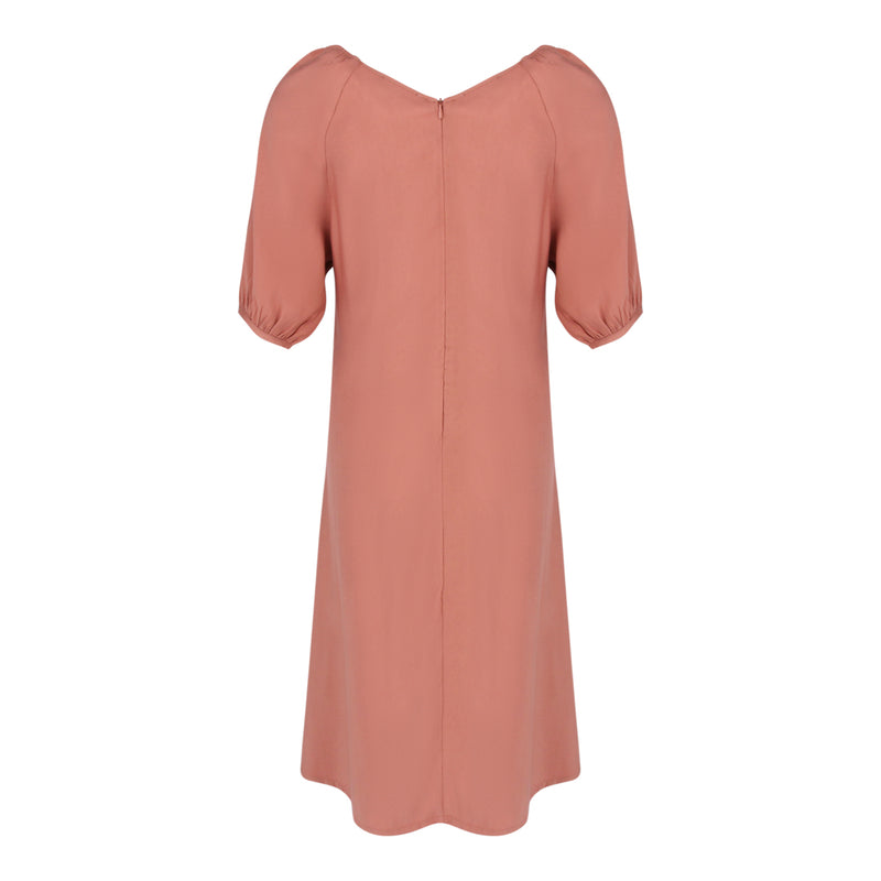 Mid Sleeve Dress With Tie Belt in Salmon