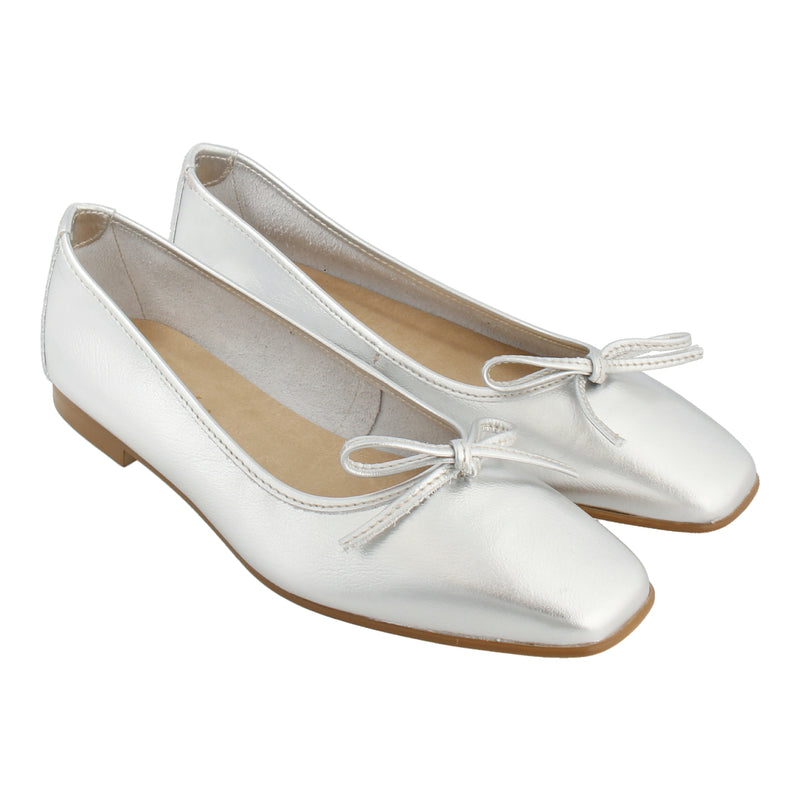 Leather Ballet Flats (Silver)