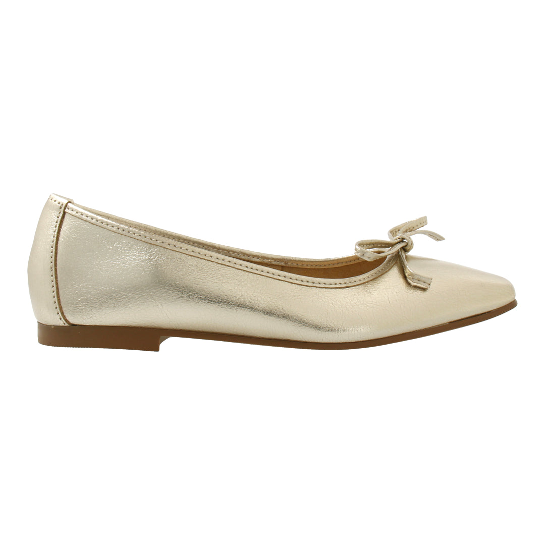 Leather Ballet Flats (Gold)